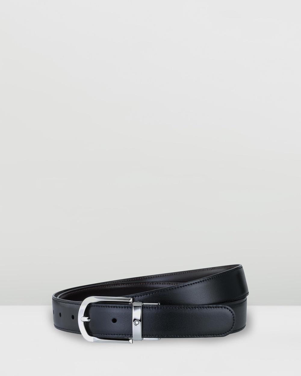 Montblanc Revolving Rounded Horseshoe Shiny Palladium Coated Pin Buckle Belt Belts Black Palladium-Coated