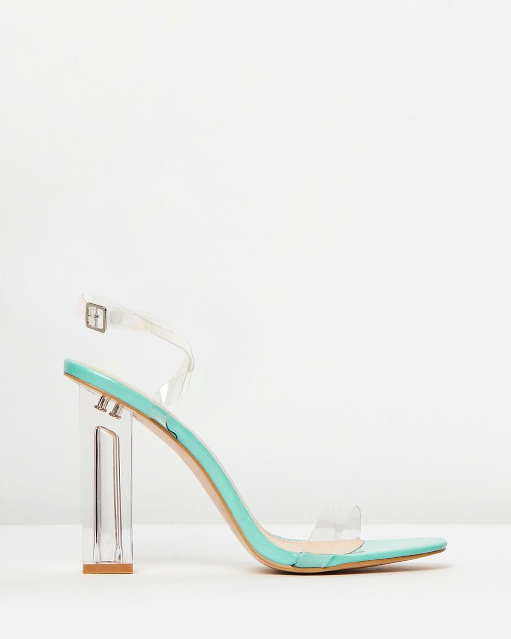 Public Desire Alia Heels Neon Blue Patent Alia