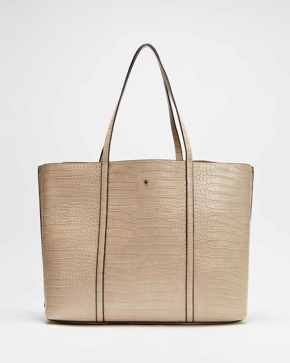 PETA AND JAIN Hudson Handbags Nude Croc & Gold