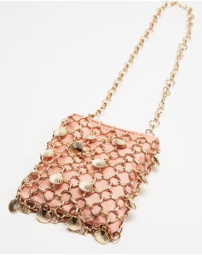Topshop Shell Cage Mini Bag Pink
