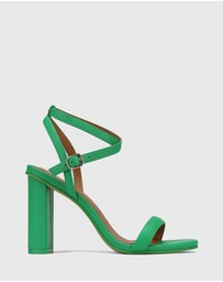 Wittner - Raven Leather Open Toe Block Heels
