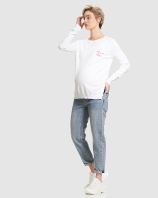 Soon Maternity 'You feet ve got this mama' Sweater - Jumpers & Cardigans (White)