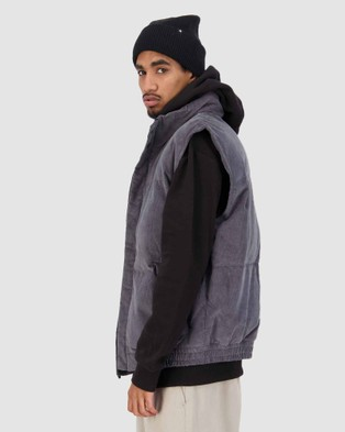 Huffer Comfort Cord Puffer Vest - Coats & Jackets (Grey)