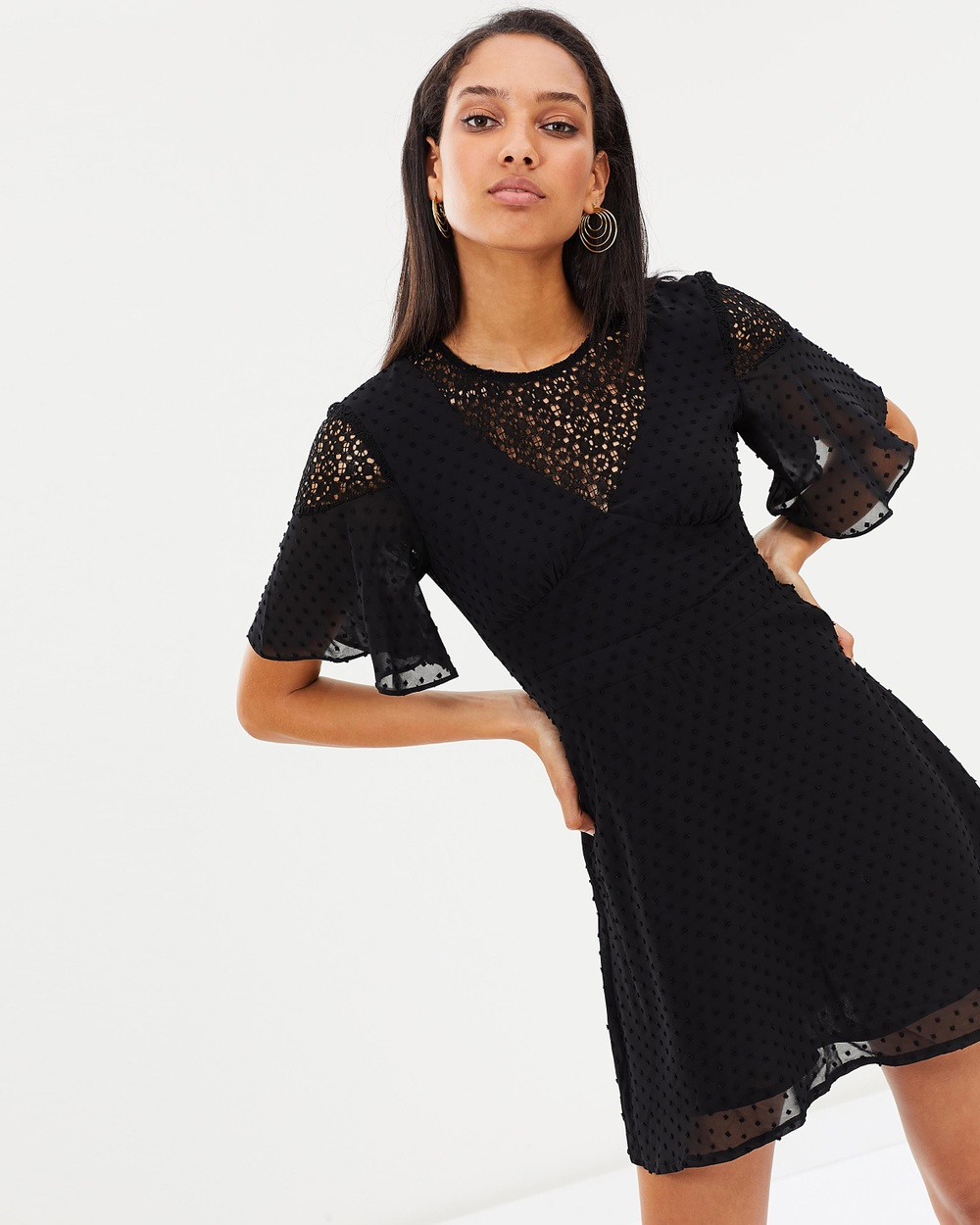 Atmos & Here ICONIC EXCLUSIVE Crystal Lace Back Dress Dresses Black ICONIC EXCLUSIVE Crystal Lace Back Dress