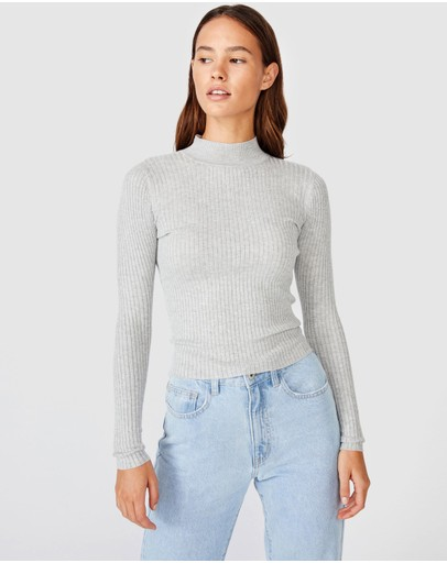 Cotton On Quinny Ls Rib Pullover Grey Marle