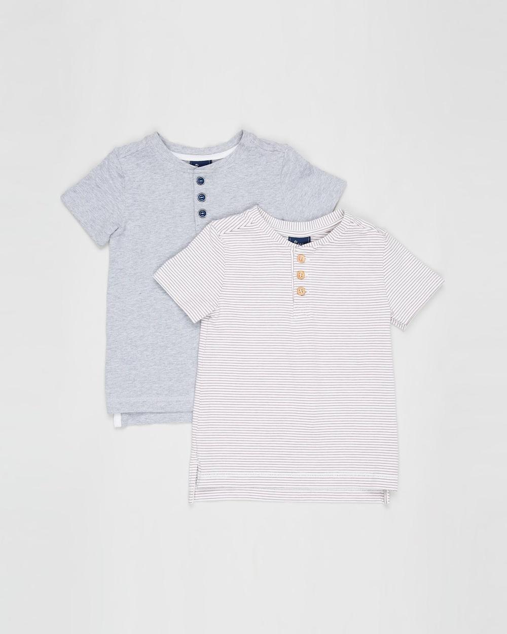 Pappe 2 Pack Croft Henley SS T Shirt Babies Kids T-Shirts & Singlets Grey Elderberry 2-Pack T-Shirt Babies-Kids Australia