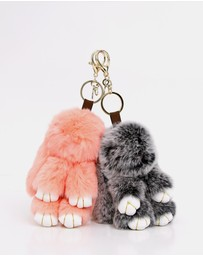 Belle & Bloom - Faux Fur Bunny Key Ring 2 Pack