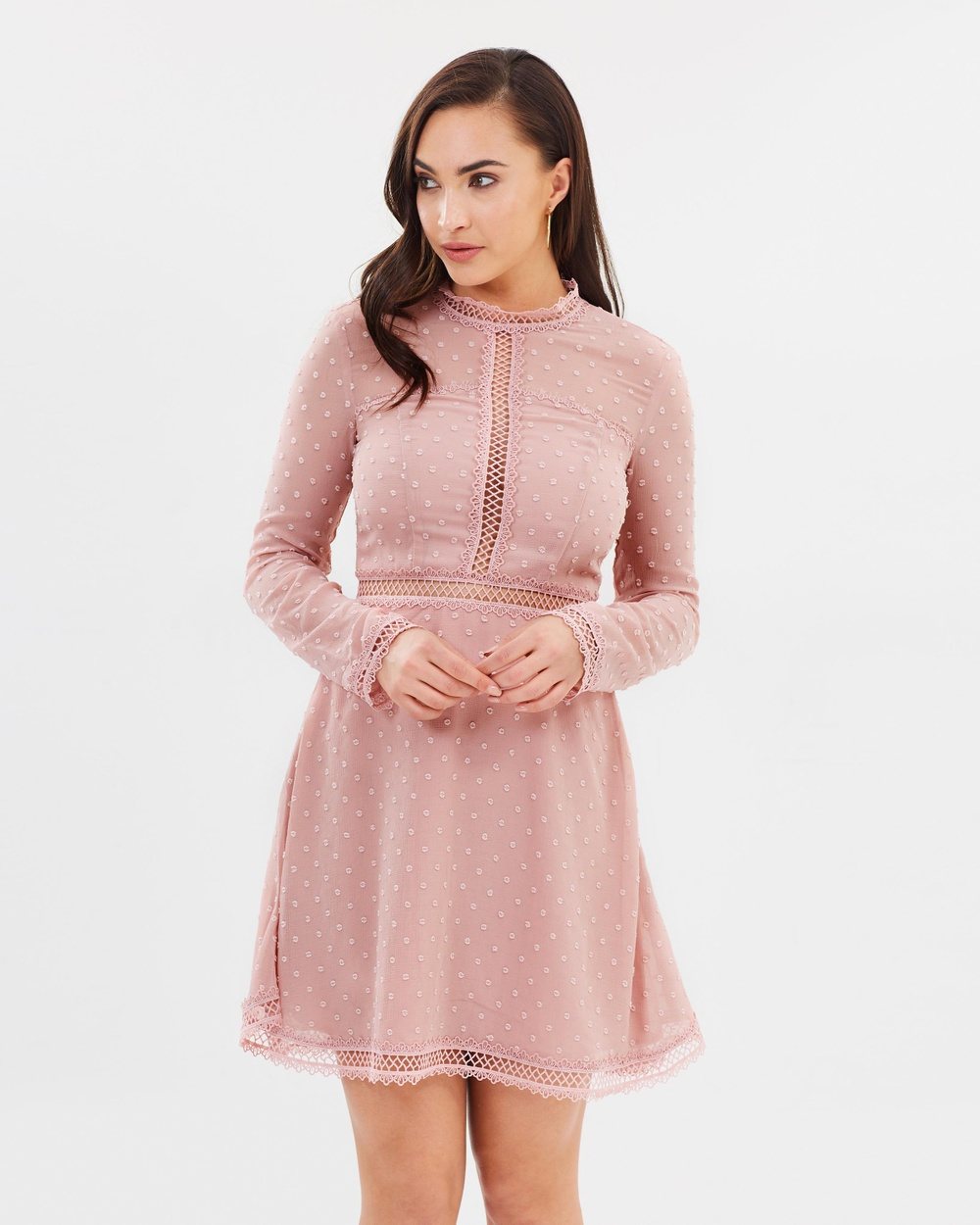 Bardot Latte Pink Cherie Dobby Dress