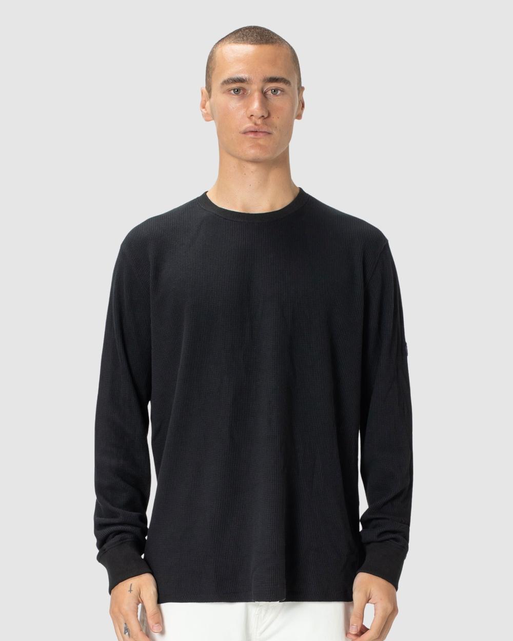 Barney Cools - Badge LS Waffle Tee - Long Sleeve T-Shirts (Black) Badge LS Waffle Tee