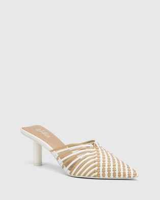 Wittner Dome Woven Leather Stiletto Heel Mules - Heels (White)