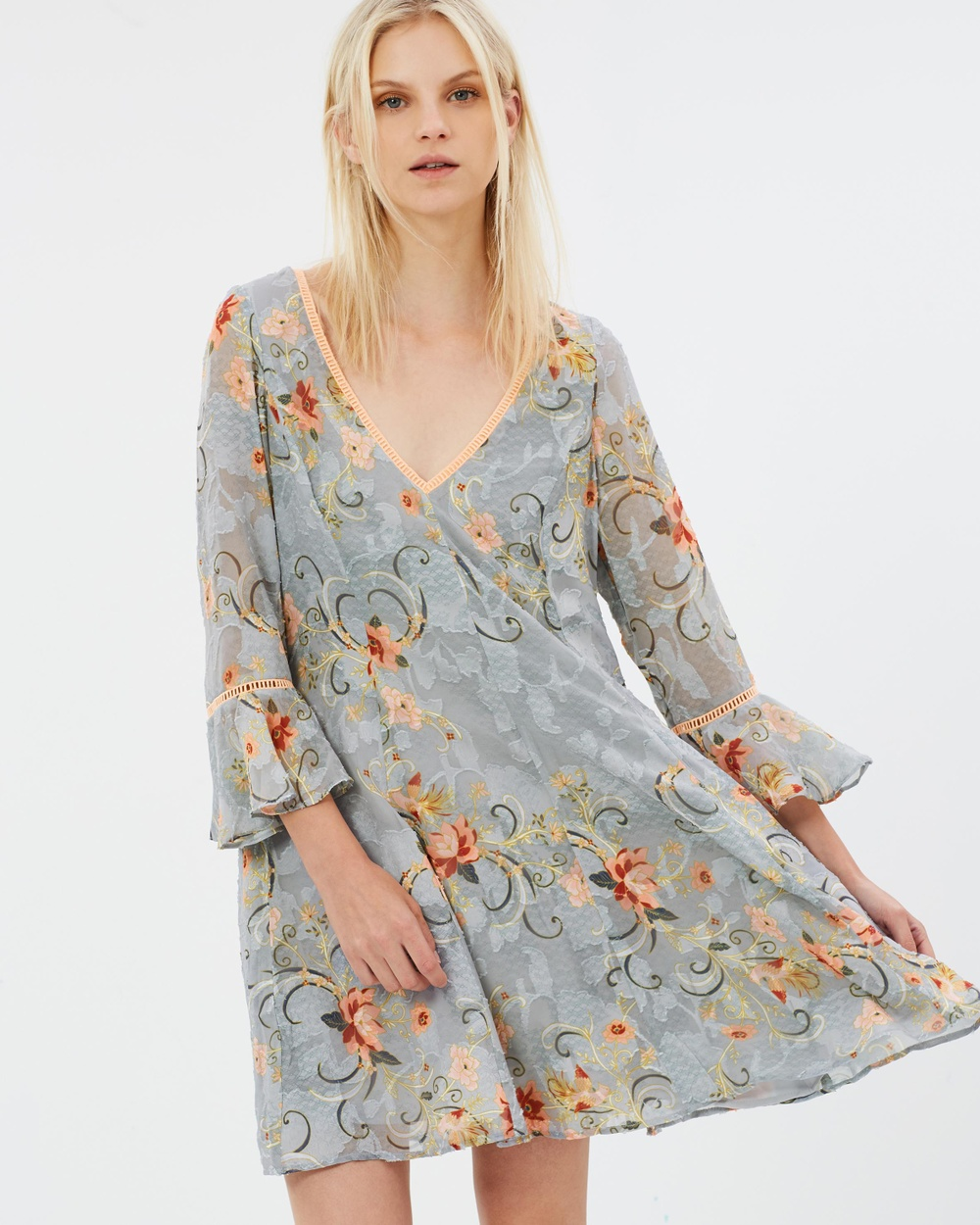 We Are Kindred Esme Frill Sleeve Dress Printed Dresses Sky Oriental Esme Frill Sleeve Dress