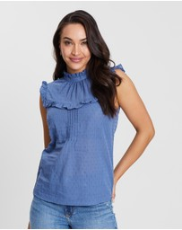 Oasis - Textured Dobby Frill Top