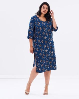 Advocado Plus – 3 4 Sleeve Layering Dress – Dresses (Winter Floral)