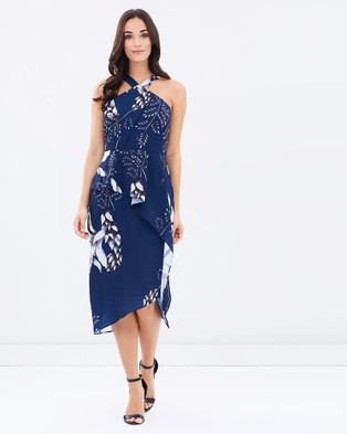 3rd Love – Floral Gazing Peplum Dress – Dresses (Navy)