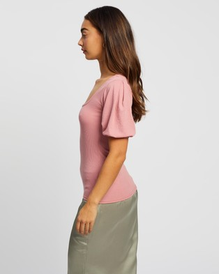 Missguided Rib Puff SS Square Neck Milkmaid Top Clothing Blush