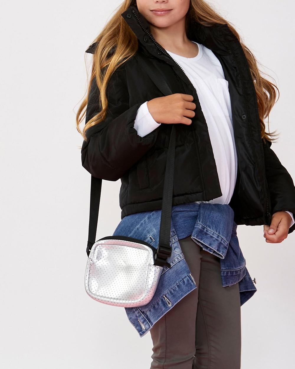 Decjuba Kids Aria Crossbody Teens Bags Silver & Black