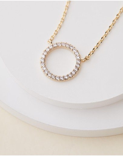 Estella Bartlett Large Pave Set Cz Circle Gold Plated