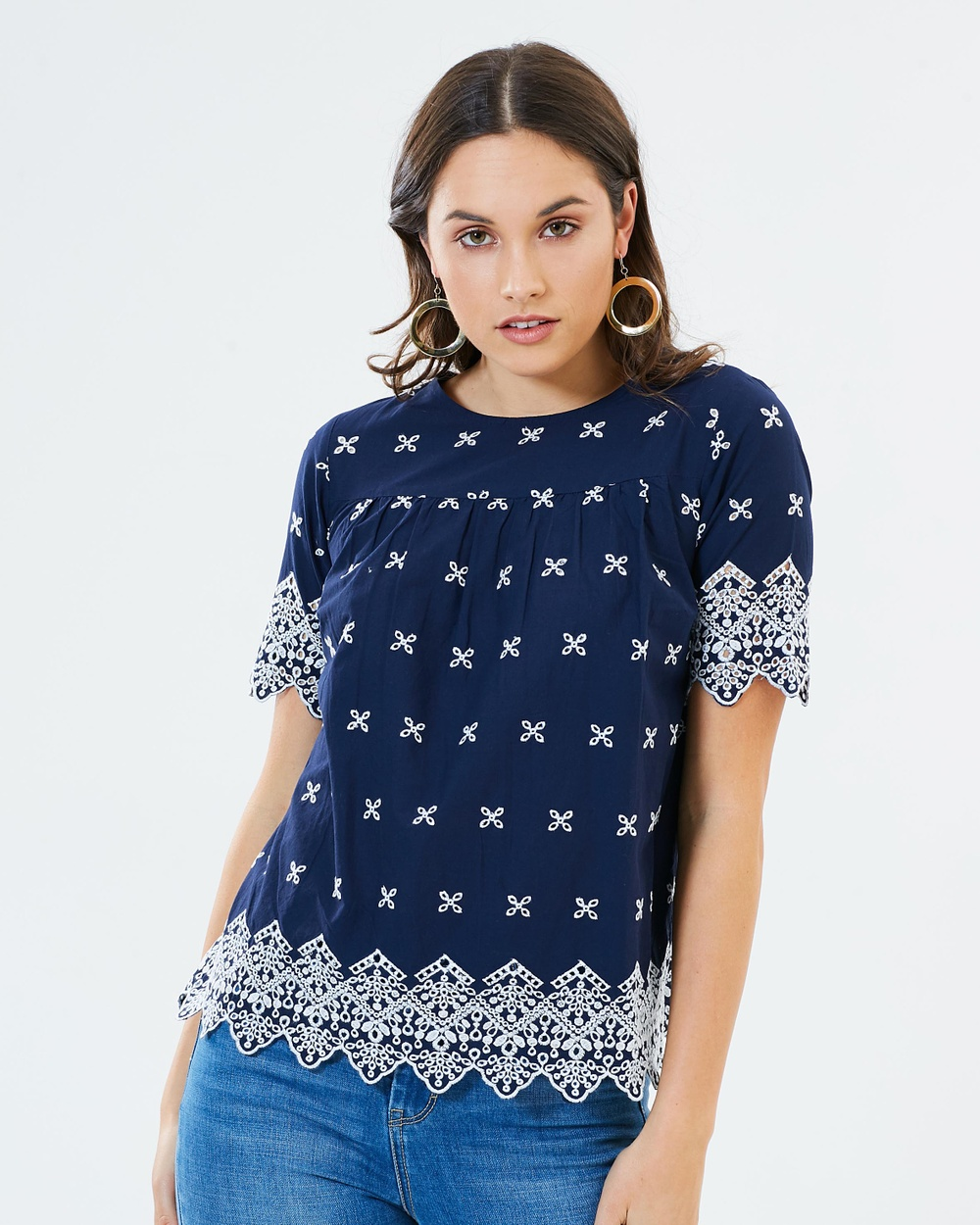 Dorothy Perkins Scallop Broderie Top Tops Navy Blue Scallop Broderie Top