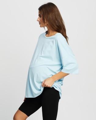 Angel Maternity Maternity Bike Shorts & Oversized Tee Set - Shorts (Black & Blue)