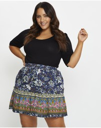 You & All - Plus Floral Print Skater Skirt
