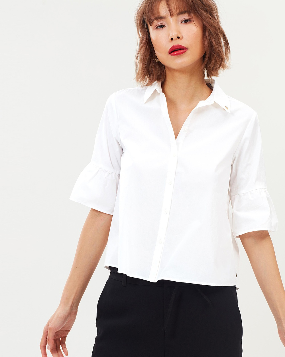 Maison Scotch Special Sleeve Ruffle Shirt Tops White Special Sleeve Ruffle Shirt