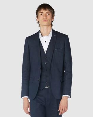 Jack London Navy Linen Suit Jacket - Suits & Blazers (Blue)