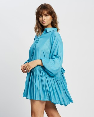 Glamorous Puffy Long Sleeve Shirt Dress - Dresses (Azure Blue)