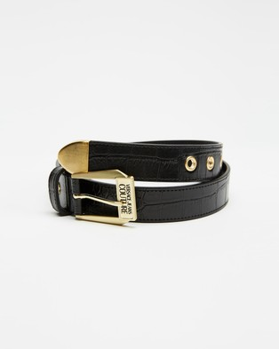 Versace Jeans Couture Slim Buckle Belt  - Belts (Black)