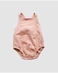 Goldie & Ace - ICONIC EXCLUSIVE by LINDY RAMA-ELLIS - Aria Linen Romper - Babies-Kids