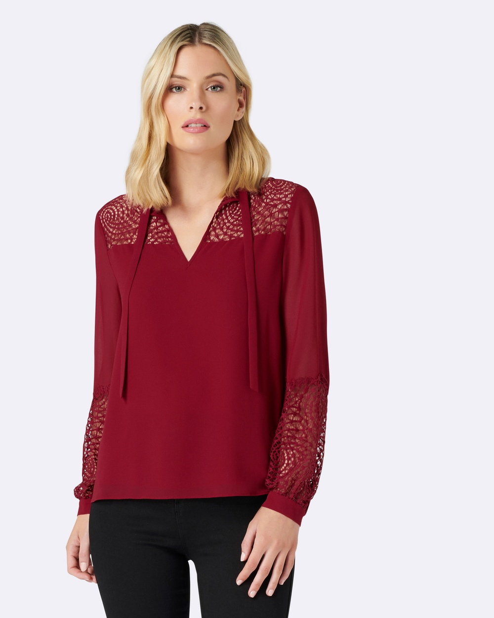Forever New Susie Lace Tie Neck Blouse Tops Red Susie Lace Tie Neck Blouse