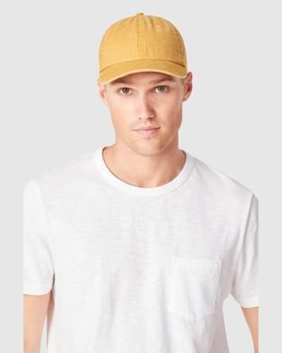 French Connection Vintage Wash Cap - Headwear (MUSTARD)