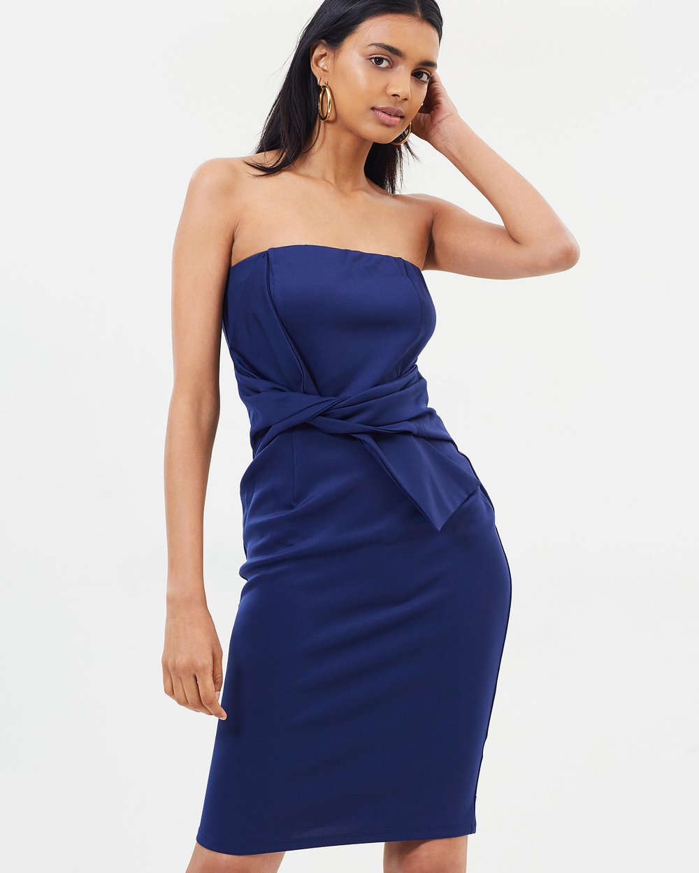 Dorothy Perkins Bandeau Tie Front Body Con Dress Bodycon Dresses Navy Blue Bandeau Tie Front Body-Con Dress