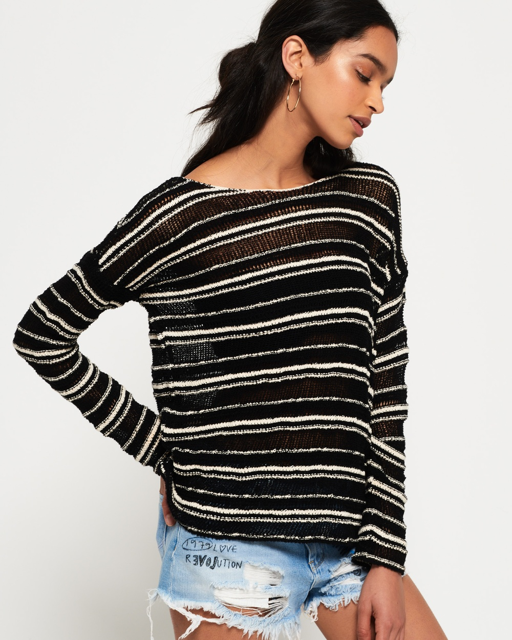 Superdry Evie Textured Slouch Knit Jumper Tops BLACK/CREAM Evie Textured Slouch Knit Jumper