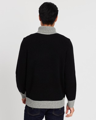 3 Wise Men The Roland Roll Neck Knit - Jumpers & Cardigans (Black & Heather Grey)