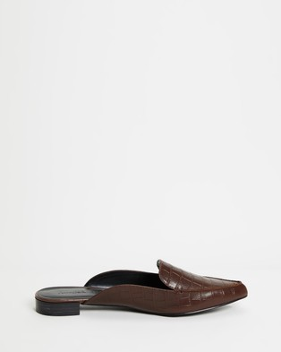 Atmos&Here - Carissa Leather Mules Flats (Tan Croc Embossed Leather)