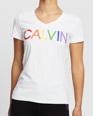 Calvin Klein Performance Calvin Logo Short Sleeve Tee - Short Sleeve T-Shirts (White)