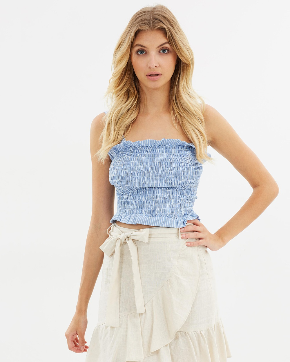 681f5c56b Atmos & Here ICONIC EXCLUSIVE Luna Shirred Frill Top Cropped tops ...