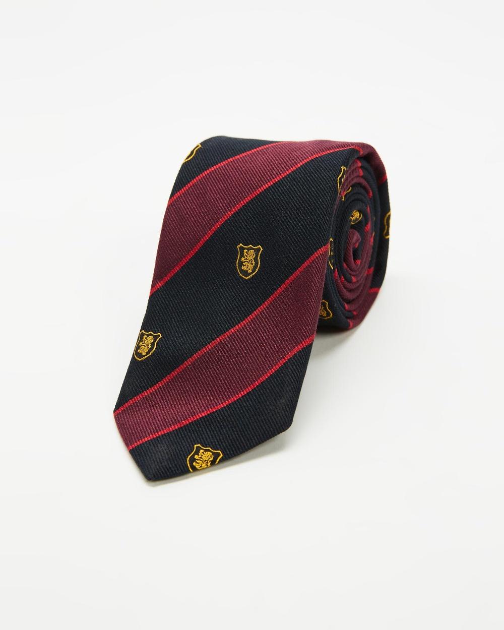 Kent and Curwen Embroidered Logo Silk Tie Ties Red Embroidered-Logo Ties Australia