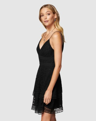 Forever New Isabel Tiered Lace Mini Dress - Bridesmaid Dresses (Black)