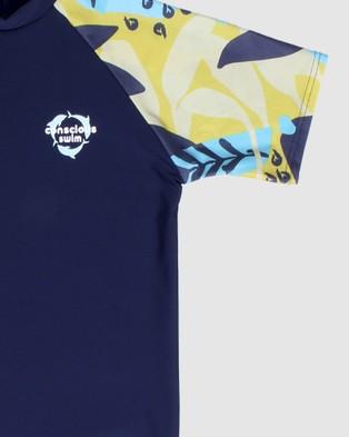 Conscious Swim - Short Sleeve Logo Rashie Boys Rash Suits (Navy)