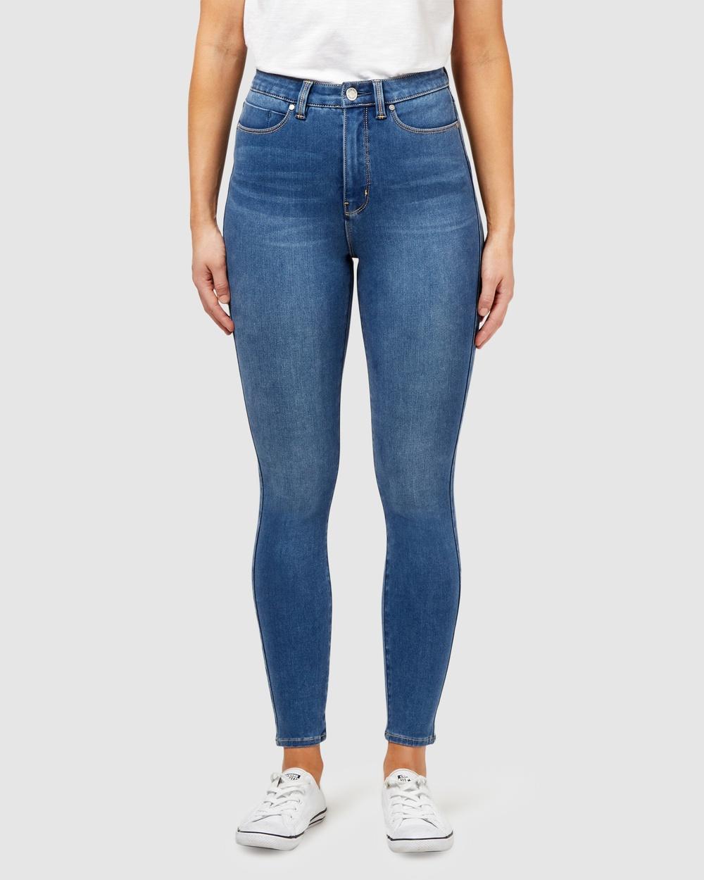 Jeanswest Freeform 360 Contour High Waisted Skinny 7 8 Jeans True Blue High-Waisted True Blue 7-8 Australia
