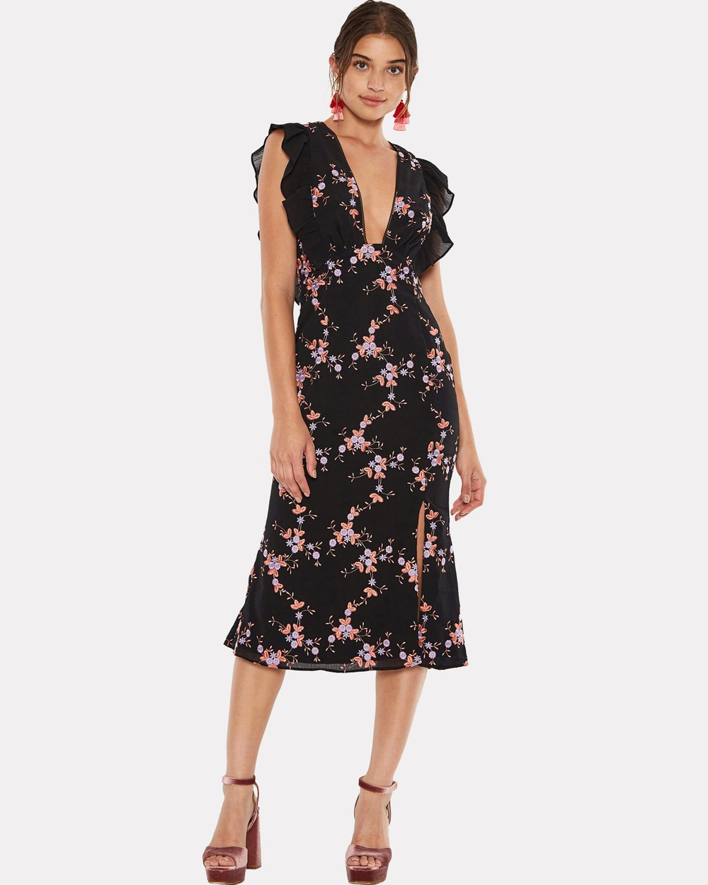 Talulah Seguro Midi Dress Dresses Black Multi Seguro Midi Dress