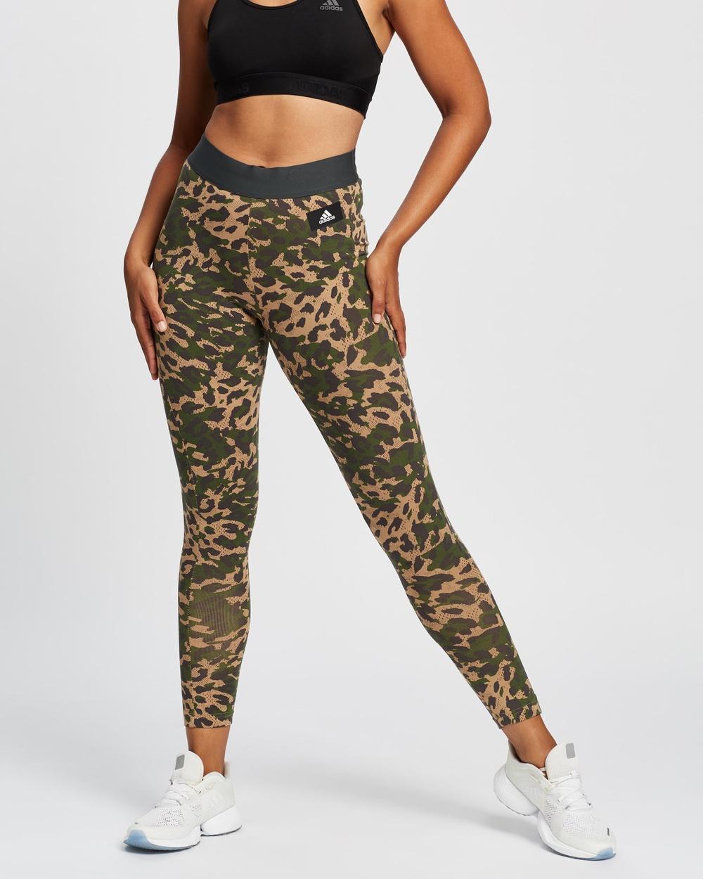 adidas Performance Sportswear Leopard Print Cotton Leggings 7/8 Tights Cardboard