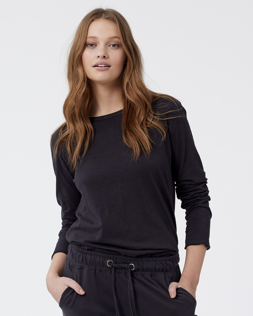 Jac & Mooki - Charlie Long Sleeve Tee - Long Sleeve T-Shirts (Vintage Black) Charlie Long Sleeve Tee