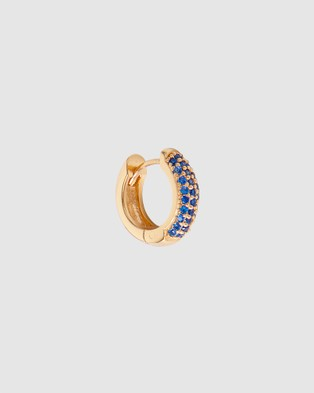 FAIRLEY - Blue Crystal Pave Huggies Jewellery (Gold)