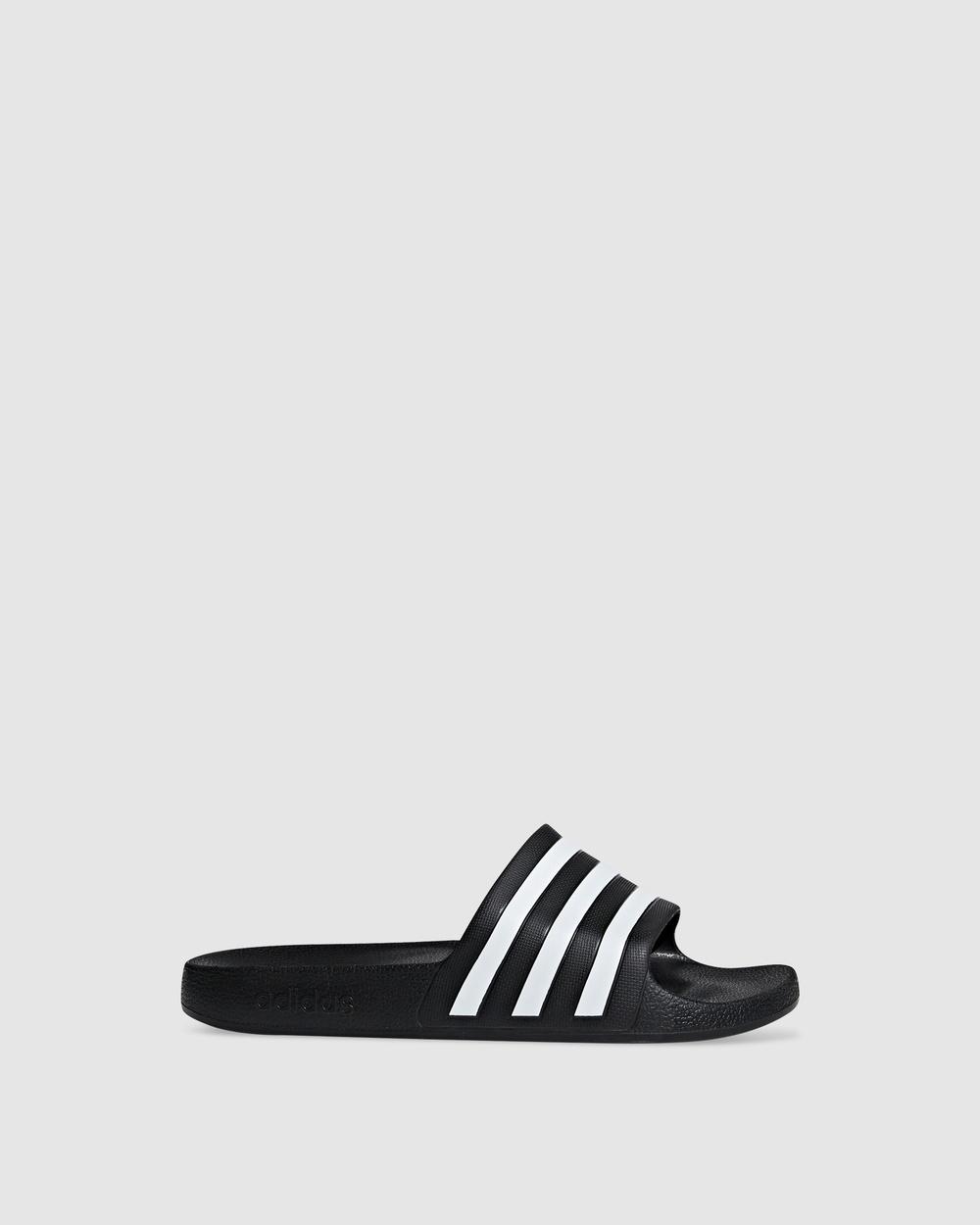 adidas Performance Adilette Aqua Slides Sandals Black Australia