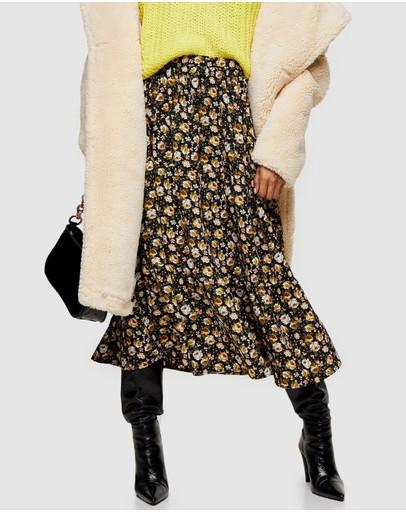 Topshop Vintage Floral Tier Midi Skirt Multi