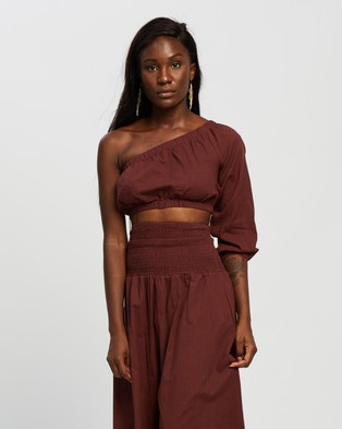 REVERSE Linen Look Midi Skirt and Top Set Skirts Chocolate Linen-Look