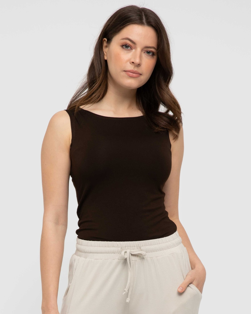 Bamboo Body Shell Top Tops Chocolate
