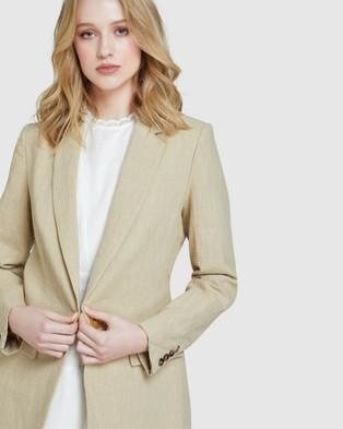 Oxford Lola Linen Blazer - Blazers (Brown)